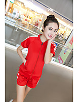 Women's Casual/Daily Simple T-shirt Dress Suits,Solid Round Neck Short Sleeve Tassel Micro-elastic
