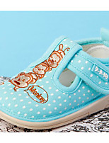 Girls' Flats First Walkers Canvas Fabric Spring Fall Casual Walking First Walkers Magic Tape Low Heel Light Blue Blushing Pink Flat