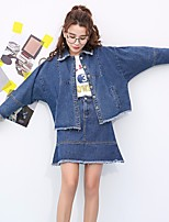 Women's Going out Casual/Daily Active Spring Fall Denim Jacket,Solid Shirt Collar Long Sleeve Regular Cotton