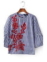 T-shirt Da donna Sensuale Semplice Moda città Estate,A scacchi Ricamato Rotonda Cotone Mezze maniche Sottile Medio spessore