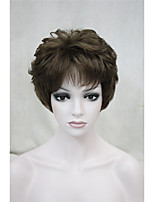 Fashion Curly Medium Golden Brown Short Synthetic Hair Full Women's  Wig For Everyday