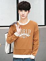 Men's Casual/Daily Sweatshirt Letter Round Neck Micro-elastic Cotton Long Sleeve Summer