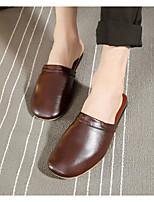 Men's Slippers & Flip-Flops Comfort PU Spring Casual Comfort Brown Fuchsia Black Flat