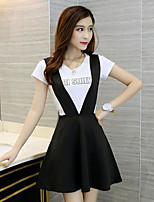 Women's Casual/Daily Simple Summer T-shirt Dress Suits,Solid Round Neck Short Sleeve Micro-elastic