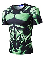 Men's Short Sleeve Bike T-shirt Sweatshirt Tops Quick Dry Breathable Sweat-wicking Sports Printing Exercise & Fitness Leisure SportsGreen