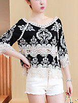 Women's Going out Casual/Daily Street chic Summer Loose Blouse Embroidered Round Neck 3/4 Length Sleeve Cotton Polyester Thin