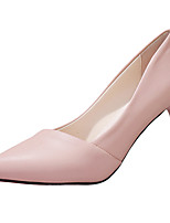 Women's Heels PU Summer Dress Kitten Heel Black Beige Blushing Pink 1in-1 3/4in