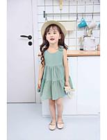 Vestido Chica de Un Color Algodón Sin Mangas Verano