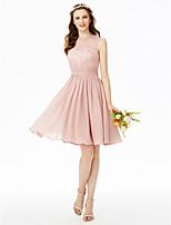 LAN TING BRIDE באורך  הברך עם תכשיטים שמלה לשושבינה  - אלגנטי גב יפהפייה ללא שרוולים שיפון תחרה
