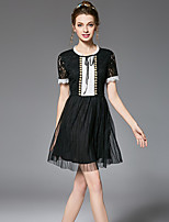 OUYALIN Women's Plus Size Fashion Vintage Hollow Lace Bead Color Block Patchwork Grenadine Pleated Skater Dress