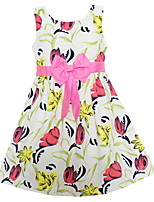 Girls Summer Fashion Dress Pink Flower Print Bow Party Pageant Kids Clothing