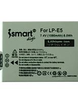 Ismartdigi New LPE5 7.4V 1080mAh Camera Battery for Canon LPE5 LP-E5 EOS 500D 1000D 450D