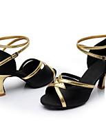 Maßfertigung Damen Latin Seide Sandalen Innen Maßgefertigter Absatz Schwarz