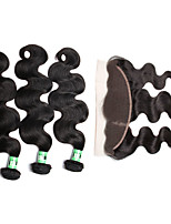 4 Pcs/Lot Indian Body Wave 3 Bundles With 1 Pc 13X4 Lace Frontal Closure  Free Part
