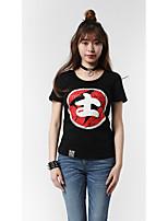 Damen Personen Wort/Satz Einfach Punk & Gothic Chinoiserie Ausgehen Lässig/Alltäglich Athlässigkeit T-shirt,Rundhalsausschnitt Sommer