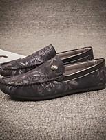 Для мужчин Туфли на шнуровке Удобная обувь Полиуретан Весна Повседневные Удобная обувь На плоской подошве Черный Красный СинийНа плоской