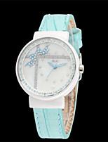 Женские Модные часы Кварцевый Кожа Группа Синий Розовый