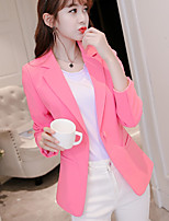 Women's Casual/Daily Simple Spring Summer Blazer,Solid Notch Lapel 3/4-Length Sleeve Regular Polyester