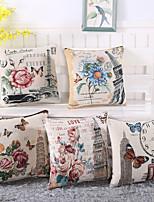 Set Of 5 European Style Eiffel Tower Pillow Case Vintage Cotton/Linen  Pillow Cover
