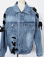 Women's Casual/Daily Simple Spring Denim Jacket,Color Block V Neck 3/4 Length Sleeve Regular Cotton