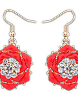 Euramerican Bohemian Elegant Vintage Rhinestone Flowers Women's Party Drop Earrings Movie Jewelry