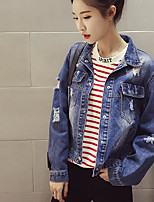 Women's Casual Casual Spring Denim Jacket,Solid Stand Long Sleeve Regular Cotton
