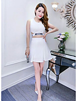 Women's Club Sexy Summer T-shirt Skirt Suits,Solid Letter Round Neck Sleeveless Cut Out