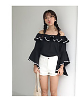 Women's Going out Casual/Daily Cute Summer Shirt,Solid Boat Neck Long Sleeve Cotton