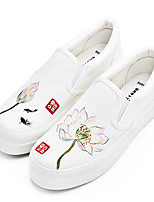 Women's Loafers & Slip-Ons Comfort Fabric Spring Casual White Flat