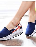 Для женщин Мокасины и Свитер Удобная обувь Полотно Весна Повседневные Удобная обувь Белый Красный Синий На плоской подошве