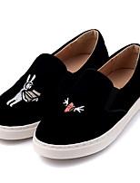 Для женщин Мокасины и Свитер Удобная обувь Нубук Замша Весна Повседневные Удобная обувь Черный На плоской подошве