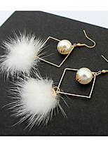 Drop  Earrings  Lady Girls'  Feather  Pearl  Earrings  Euramerican  Fashion  Congratulations  And Party Statement Jewelry
