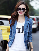 Women's Lawn Street chic Spring Denim JacketSolid Shirt Collar Long Sleeve Regular 20%Wool21%Polyester 59%ViscosePattern Gender Occasions Fabric Seas