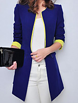 Women's Casual/Daily Simple Spring Blazer,Solid Round Neck Long Sleeve Long Cotton