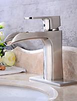 Nickel Brushed Tall Single Handle Lever Bathroom Sink Vessel Faucet