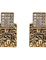Euramerican Punk  Luxury Vintage Square Rhinestone Stud Earrings Lady Business Drop Earrings Statement Jewelry