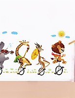 New Wall Stickers Animal Cycling Cute Cartoon Stickers Children Room Decoration Wall Stickers Can Be Removed