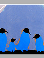 IARTS®Hand Painted Blue Penguins Oil Painting with Stretched Frame For Home Decoration