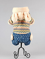 Dog Clothes/Jumpsuit Dog Clothes Casual/Daily Keep Warm Stripe Yellow Blue Blushing Pink