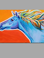 Hand Painted Modern Abstract Horse Animal Canvas Oil Painting Wall Art With Stretched Frame Ready To Hang