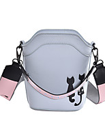 Damen Umhängetasche PU Ganzjährig Barrel Bag Reißverschluss Himmelblau Grau Gelb Rot Pinky