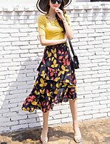 Women's Going out Beach Street chic Summer Slim T-shirt Asymmetrical Skirt Suits Solid Print Asymmetrical Short Sleeve Chiffon Ruffle Micro-elastic