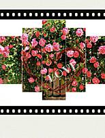Art Print Floral/Botanical Modern Five Panels Horizontal Print Wall Decor For Home Decoration