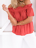 Tee-shirt Femme,Couleur Pleine Sortie Décontracté / Quotidien Grandes Tailles Sexy simple Chic de Rue Printemps Manches Courtes Bateau