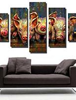 Art Print Animal Modern,Five Panels Horizontal Print Wall Decor For Home Decoration