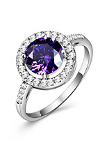 Amethyst AAA Cubic Zirconia Circle Luxury Elegant Gemstone Ring Jewelry For Wedding Party