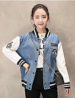 Women's Casual/Daily Simple Street chic Spring Denim Jacket,Solid Square Neck Long Sleeve Regular Others