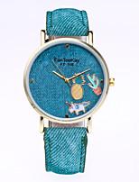 Women's Vintage Pineapple Denim Quartz Leather Band Casual Fashion Watch