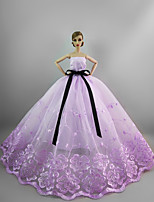 Evening Party Dress in Light Purple For Barbie Doll For Girl's Doll Toy