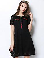 MEIDONGTAI Women's Daily Sheath DressSolid Round Neck Above Knee Short Sleeve Cotton Summer Low Rise Inelastic Medium